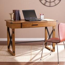 Southern Enterprises Canton Wooden Adjustable-Height Desk, Glazed Pine