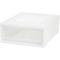 "IRIS Stackable Storage Box Drawer - External Dimensions: 19.6"" Length x 15.8"" Width x 7"" Height - 5.50 gal - Stackable - Plastic - Clear, White - For Accessories, Craft Supplies, Toiletries - 4 / Carton"