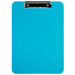 "JAM Paper® Plastic Clipboards with Metal Clip, 9"" x 13"", Blue, Pack Of 12"