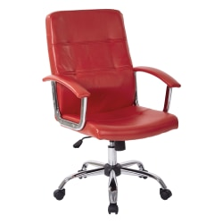 Office Star™ Avenue Six Malta Vinyl Mid-Back Chair, Red/Silver