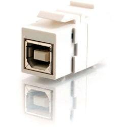 C2G Snap-In USB B/B Female Keystone Insert Module - White - 1 x Type B Female - 1 x Type B Female - White