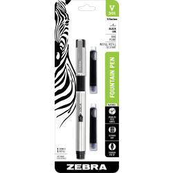 Zebra® V-301 Fountain Pen, Medium Point, 0.7 mm, Stainless Steel Barrel, Black