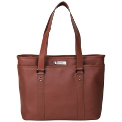 "Kenneth Cole Reaction Leather Work Tote With 16"" Laptop Pocket, Red"