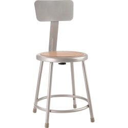 "National Public Seating Hardboard Stool With Back, 18""H, Gray"