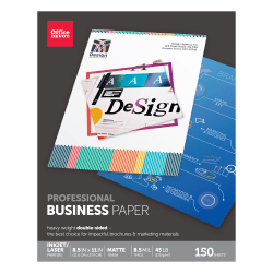 """Office Depot® Brand Professional Business Paper, Matte, Letter Size (8 1/2"""" x 11""""), 45 Lb, Pack Of 150 Sheets"""