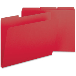 Smead® 1/3-Cut Color Pressboard Tab Folders, Letter Size, 50% Recycled, Bright Red, Box Of 25