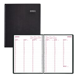 "Brownline® Duraflex Weekly Planner, 11"" x 8 1/2"", 50% Recycled, FSC® Certified, Black, January to December 2021"