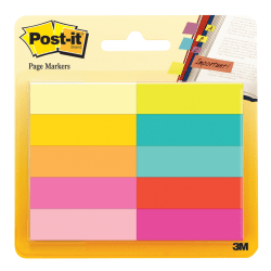 "Post-it® Page Markers, 1/2"" x 1 3/4"", Assorted Bright Colors, 50 Per Pad, Pack Of 10 Pads"