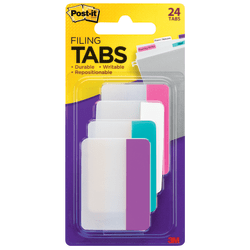 """Post-it® Notes Durable Filing Tabs, 2"""" x 1-1/2"""", Assorted Colors, 6 Flags Per Pad, Pack Of 4 Pads"""