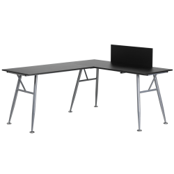 Flash Furniture Contemporary Laminate L-Shape Computer Desk, Black/Silver