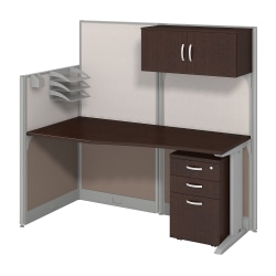 Bush Business Furniture Office In An Hour Straight Workstation With Storage & Accessory Kit, Mocha Cherry Finish, Premium Delivery