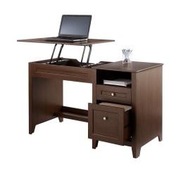 "Realspace® Premium Height-Adjustable 50""W Lift Top Desk, Mocha"