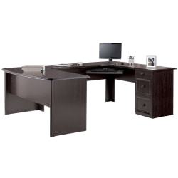 "Realspace® Broadstreet 65""W U-Shaped Executive Desk, Walnut"