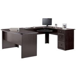 Realspace® Broadstreet U-Shape Executive Desk, Walnut