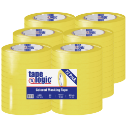 "Tape Logic® Color Masking Tape, 3"" Core, 0.5"" x 180', Yellow, Case Of 72"