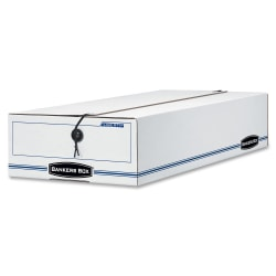 """Bankers Box® Liberty® Corrugated Storage Boxes, 4 1/4"""" x 9 1/4"""" x 23 3/4"""", 65% Recycled, White/Blue, Case Of 12"""