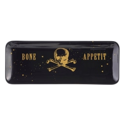 "Amscan Ceramic Bone Appetit Serving Trays, 13"" x 5"", Black, Pack Of 2 Trays"