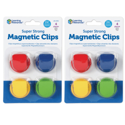 """Learning Resources® Super Strong Magnetic Clips, 1 1/2"""", 50 Pages, Assorted Colors, 4 Hooks Per Pack, Set Of 2 Packs"""