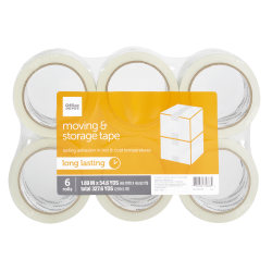 "Office Depot® Brand Moving & Storage Tape, 1.89"" x 54.6 Yd., Clear, Pack Of 6"