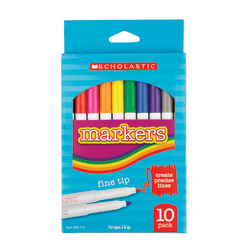 Scholastic Markers, Fine Tip, Assorted Colors, Pack Of 10