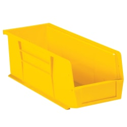 "Office Depot® Brand Plastic Stack And Hang Bin Boxes, 10 7/8"" x 4 1/8"" x 4"", Yellow, Pack Of 12"