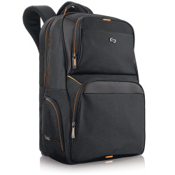 """Solo New York Everyday Backpack with 17.3"""" Laptop Compartment, Black/Orange"""