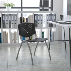 Flash Furniture HERCULES Series Plastic Stack Chair With Titanium Frame, Black/Gray