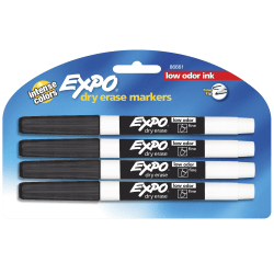 EXPO® Low-Odor Dry-Erase Markers, Fine Point, Black, Pack Of 4