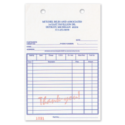 "Custom Carbonless Business Forms, Pre-Formatted, Register Forms, ""Thank You"" in Red, 5-3/8"" x 8 1/2"", 3-Part, Box Of 250"