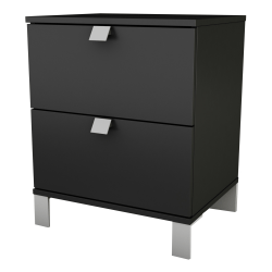 "South Shore Spark 2-Drawer Nightstand, 23""H x 19-1/2""W x 17""D, Pure Black"