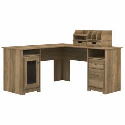 "Bush Furniture Cabot 60""W L-Shaped Computer Desk With Desktop Organizers, Reclaimed Pine, Standard Delivery"