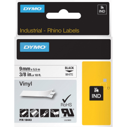 "Dymo Rhino Industrial Vinyl Labels - Permanent Adhesive - 3/8"" Width x 18 ft Length - Rectangle - Thermal Transfer - White - Vinyl - 1 Each"
