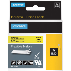 "DYMO® Rhino Flexible Nylon Labels, DYM18490, 1/2""W x 11 1/2 ft Length, Direct Thermal, Yellow, Nylon"