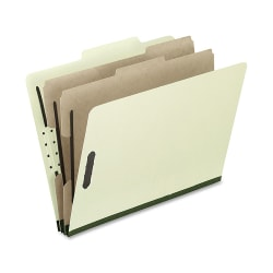 """Oxford® Pressboard Classification Folders, Legal Size, 2"""" Expansion, 2 Dividers, 30% Recycled, Gray/Green, Box Of 10"""