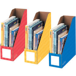 "Bankers Box® Magazine Holders, 11""H x 12 1/4""W x 4""D, Assorted Colors, Pack Of 3"
