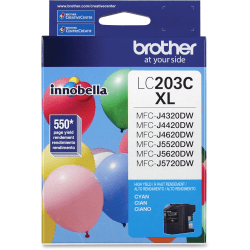 Brother Genuine Innobella LC203C High Yield Cyan Ink Cartridge - Inkjet - High Yield - 550 Pages - Cyan - 1 Each
