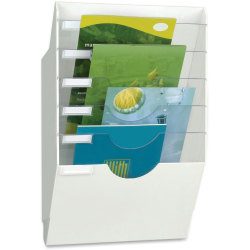 """CEP Reception 6-Compartment Wall File, 22-13/16""""H x 13-13/16""""W x 4-3/4""""D, White/Clear"""