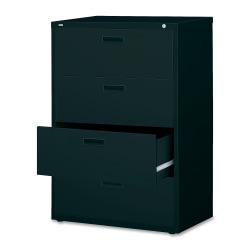 "Lorell® 30""W Lateral 4-Drawer File Cabinet, Metal, Black"