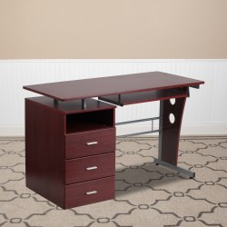 Flash Furniture Computer Desk with 3-Drawer Pedestal, Mahogany