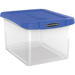 "Bankers Box® Heavy-Duty Portable Storage File Box, Letter/Legal Size, 10 5/8"" x 14 3/16"" x 17 3/8"", Clear/Blue"