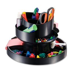 OIC® 30% Recycled Deluxe Rotary Organizer, Black