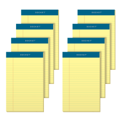 """TOPS™ Docket™ Writing Tablet, 5"""" x 8"""", Legal Ruled, 50 Sheets, Canary, Pack Of 8 Pads"""