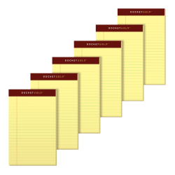 """TOPS™ Docket Gold™ Premium Writing Pads, 5"""" x 8"""", Jr. Legal Rule, Canary, 50 Sheets Per Pad, Pack Of 6 Pads"""