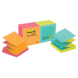 """Post-it® Pop-up Notes, 3"""" x 3"""", Cape Town Color Collection, Pack Of 12 Pads"""