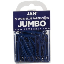 "JAM Paper® Paper Clips, Jumbo, 2"", 25-Sheet Capacity, Dark Blue, Pack Of 75"
