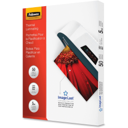 """Fellowes Laminating Pouches, Type G, Glossy, 9"""" x 11.50"""", 5 mil Thick, Clear, Box Of 50"""