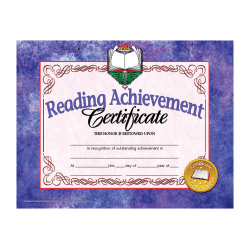 "Hayes Publishing Certificates, Reading Achievement, 8 1/2"" x 11"", Multicolor, Pre-K To Grade 12, Pack Of 30"