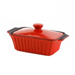 "Crock-Pot Denhoff Non-Stick Ribbed Casserole Dish, 8-1/2"", Red"