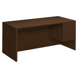 "HON® 10500 Series Right Pedestal Desk With Box And File Drawers, 66"" x 30"", Mocha"