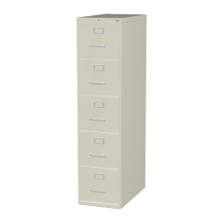 "Lorell® Fortress 26-1/2""D Vertical 5-Drawer Letter-Size File Cabinet, Metal, Putty"